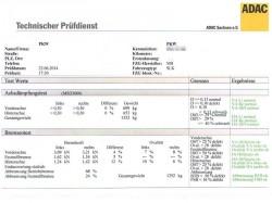 ADAC-Protokoll des Bremsen- und Dämpfertests